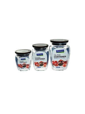 Контейнеры Glasslock HG-638 черн 0.35/0.5/0.815л. Цвет: прозрачный