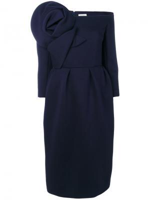 Приталенное платье с цветочным элементом Delpozo. Цвет: синий