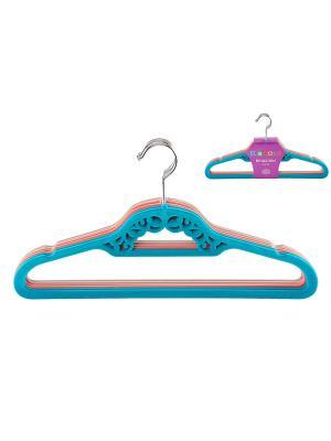 Набор вешалок из 6 штук EL CASA. Цвет: серый, голубой, розовый