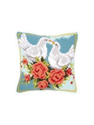 Набор для вышивания лицевой стороны наволочки Влюблённые голуби 40*40см Vervaco. Цвет: голубой, розовый, белый, зеленый