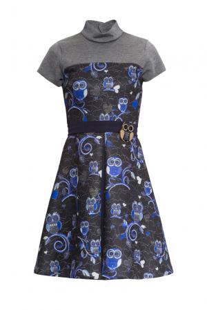 Платье из искусственного шелка и вискозы с поясом брошью 156075 Cristina Effe. Цвет: разноцветный