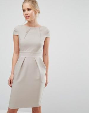 Closet London Платье-футляр миди с короткими рукавами и завязкой сзади. Цвет: серый
