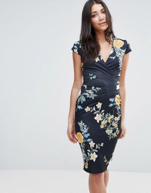 Jessica Wright Платье-футляр с V‑образным вырезом и цветочным принтом. Цвет: мульти