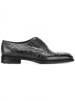 Туфли оксфорды с эффектом крокодиловой кожи Fratelli Rossetti. Цвет: чёрный