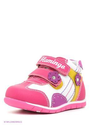 Ботинки Flamingo. Цвет: малиновый, белый