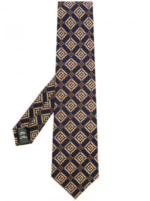 Галстук с вышивкой Gieves & Hawkes. Цвет: синий