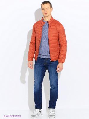 Куртка Sisley. Цвет: оранжевый, темно-синий
