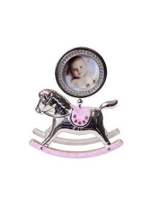 Фоторамка Лошадка-качалка розовая, металлическая со стразами, для фотографии формата 6х6см PLATINUM quality. Цвет: розовый