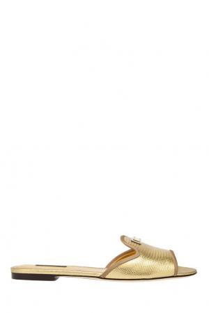Сандалии из металлизированной кожи Dolce&Gabbana. Цвет: золотой