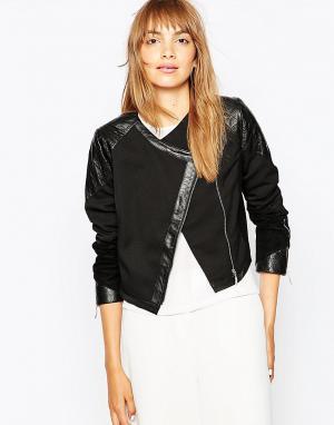 Suboo Байкерская куртка с отделкой из кожи Eveleigh. Цвет: черный