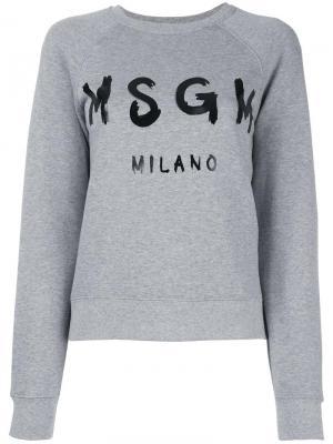 Толстовка с принтом логотипа MSGM. Цвет: серый