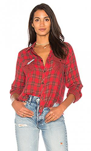 Рубашка на пуговицах с потрепанным подолом greta Etienne Marcel. Цвет: красный
