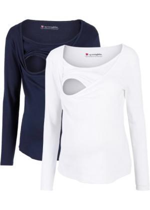 Мода для беременных и кормящих мам: футболка (2 шт.) (белый/темно-синий) bonprix. Цвет: белый/темно-синий