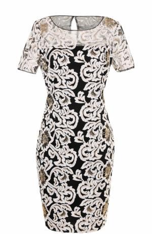 Приталенное платье-миди с вышивкой St. John. Цвет: золотой