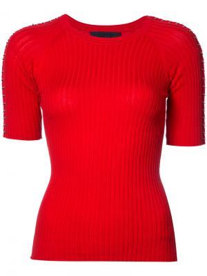 Блуза в рубчик с металлическими кольцами Co. Цвет: красный