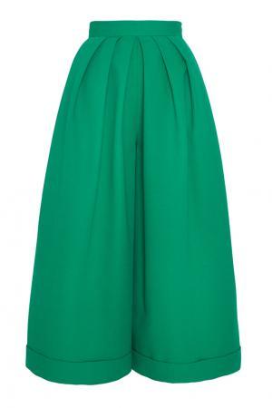 Хлопковые брюки Delpozo. Цвет: зеленый