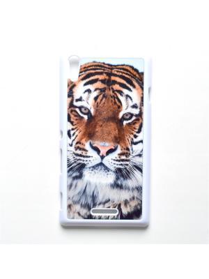 Чехол для Sony Xperia T3 Тигр Boom Case. Цвет: черный, белый, персиковый