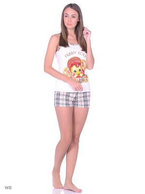 Пижама-топ, шорты NAGOTEX. Цвет: белый, коричневый, бежевый