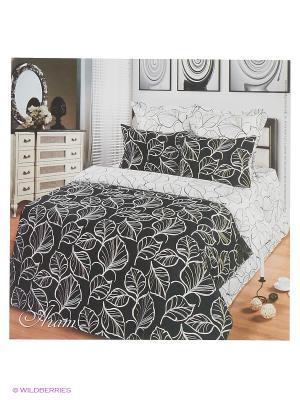 Комплект постельного белья из тк.Сатин в подарочной упаковке Агат Арт Постель. Цвет: черный, белый