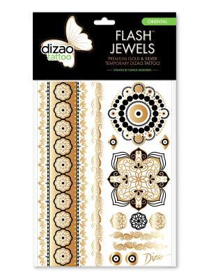 Премиальные золотые и серебряные временные Дизао тату Flash Jewels Любовь. Dizao. Цвет: черный