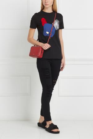 Хлопковая футболка Etre Cecile. Цвет: черный, синий, красный