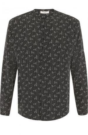 Шелковая рубашка с принтом Saint Laurent. Цвет: черный