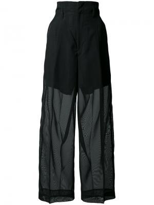 Широкие брюки с полупрозрачной отделкой Toga. Цвет: чёрный