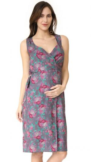 Платье Tara Rosie Pope. Цвет: синевато-серый с рисунком