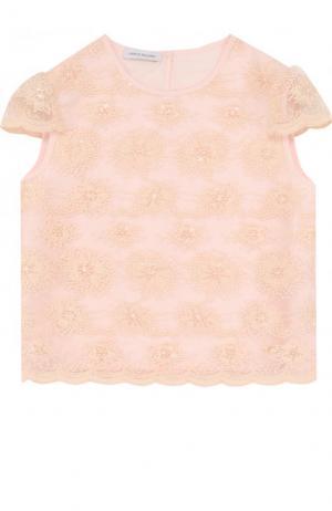 Топ с вышивкой и фестонами I Pinco Pallino. Цвет: розовый