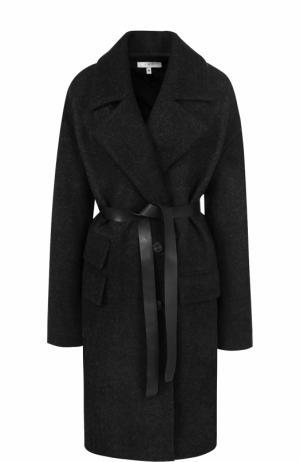 Шерстяное пальто с поясом Iro. Цвет: темно-серый