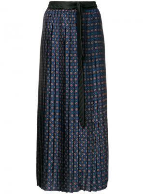 Плиссированная юбка с узором Hache. Цвет: синий