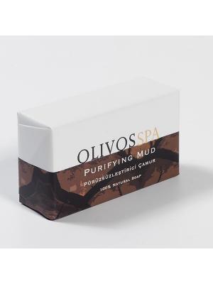 Мыло туалетное натуральное  СПА/ Очищающая глина OLIVOS. Цвет: бежевый