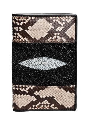 Обложка для паспорта из кожи морского ската и питона MEYNINGER. Цвет: черный