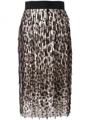 Юбка миди с леопардовым узором Dolce & Gabbana. Цвет: коричневый