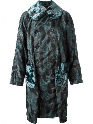 Пальто с камуфляжным принтом Comme Des Garçons. Цвет: синий