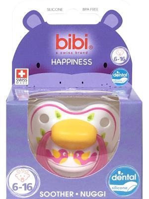 Пустышка Premium Dental силикон 6-16 мес. Happiness PlayWithUs Bibi.. Цвет: светло-оранжевый