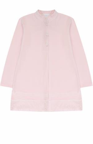 Хлопковый халат с кружевной отделкой La Perla. Цвет: розовый