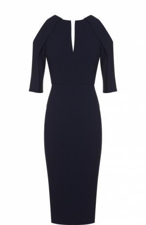 Платье-футляр с укороченными рукавами и открытыми плечами Roland Mouret. Цвет: синий