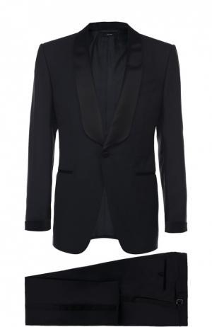 Шерстяной смокинг с шелковыми лацканами Tom Ford. Цвет: темно-синий