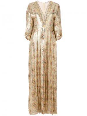Плиссированное платье с рисунком Vilshenko. Цвет: телесный