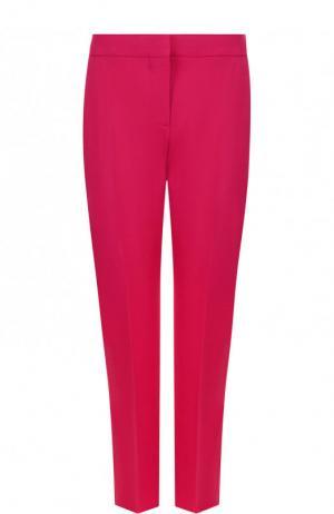 Укороченные брюки из смеси шерсти и шелка со стрелками Alexander McQueen. Цвет: фуксия