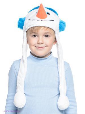 Шапочка Снеговичок Карнавалия. Цвет: белый, оранжевый, синий