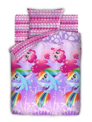 Комплект постельного белья 1,5 бязь My Little Pony Подводные пони Непоседа. Цвет: фиолетовый