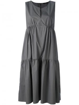 Длинное платье без рукавов Odeeh. Цвет: серый