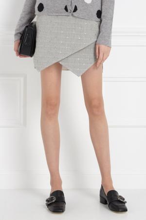 Жаккардовая юбка-мини MoS. Цвет: серый