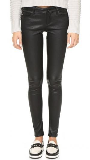 Кожаные брюки-скинни AG. Цвет: густой черный