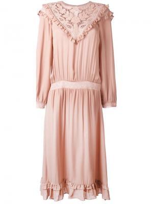 Платье длины миди со вставкой из макраме Masscob. Цвет: розовый и фиолетовый