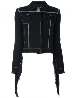 Укороченная куртка с бахромой Fausto Puglisi. Цвет: чёрный