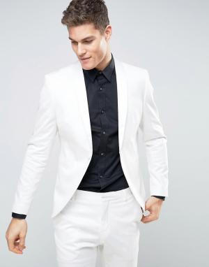 Selected Homme Белый приталенный пиджак-смокинг. Цвет: белый