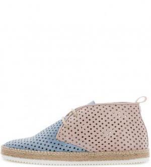 Кожаные ботинки с перфорацией NOBRAND. Цвет: синий